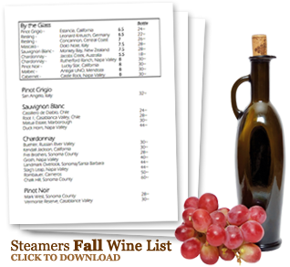 Fall Wine Menu
